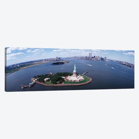 Wide-Angle View Of New York Harbor Featuring The Statue Of Liberty, USA Canvas Print #PIM3816} by Panoramic Images Canvas Wall Art