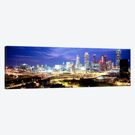 Buildings lit up at dusk, Atlanta, Georgia, USA Canvas Print #PIM3817} by Panoramic Images Canvas Wall Art