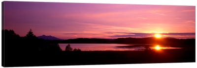 Germany , Forggen Lake, sunset Canvas Art Print
