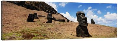 Low angle view of Moai statues, Tahai Archaeological Site, Rano Raraku, Easter Island, Chile Canvas Art Print