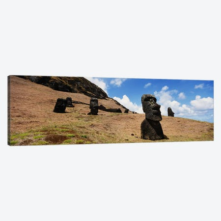 Low angle view of Moai statues, Tahai Archaeological Site, Rano Raraku, Easter Island, Chile Canvas Print #PIM3820} by Panoramic Images Canvas Artwork