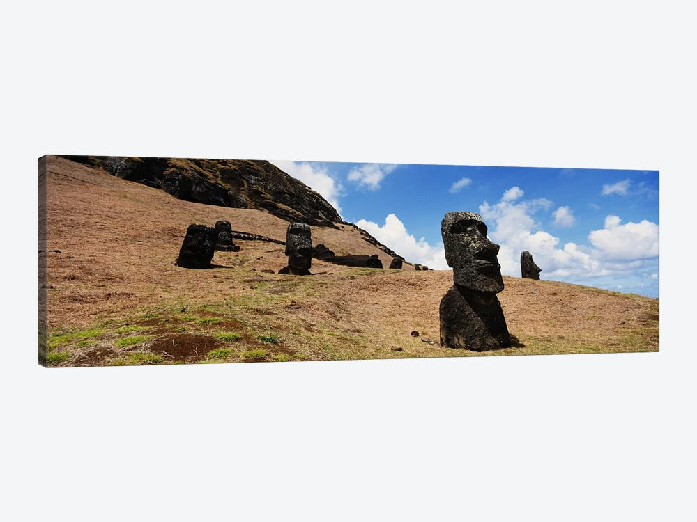Low angle view of Moai statues, Tahai Archaeological Site, Rano Raraku, Easter Island, Chile by Panoramic Images 1-piece Canvas Print