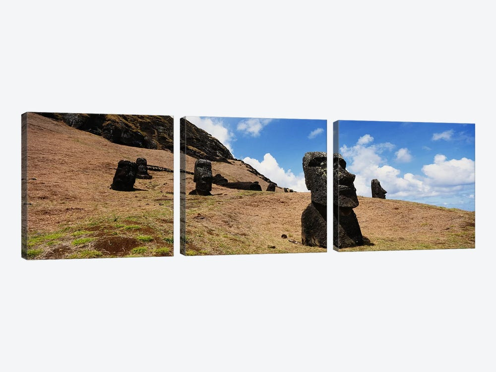 Low angle view of Moai statues, Tahai Archaeological Site, Rano Raraku, Easter Island, Chile by Panoramic Images 3-piece Canvas Art Print