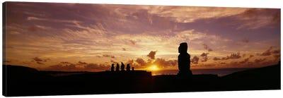 Silhouette of Moai statues at dusk, Tahai Archaeological Site, Rano Raraku, Easter Island, Chile Canvas Art Print