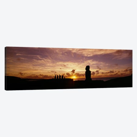 Silhouette of Moai statues at dusk, Tahai Archaeological Site, Rano Raraku, Easter Island, Chile Canvas Print #PIM3826} by Panoramic Images Canvas Print