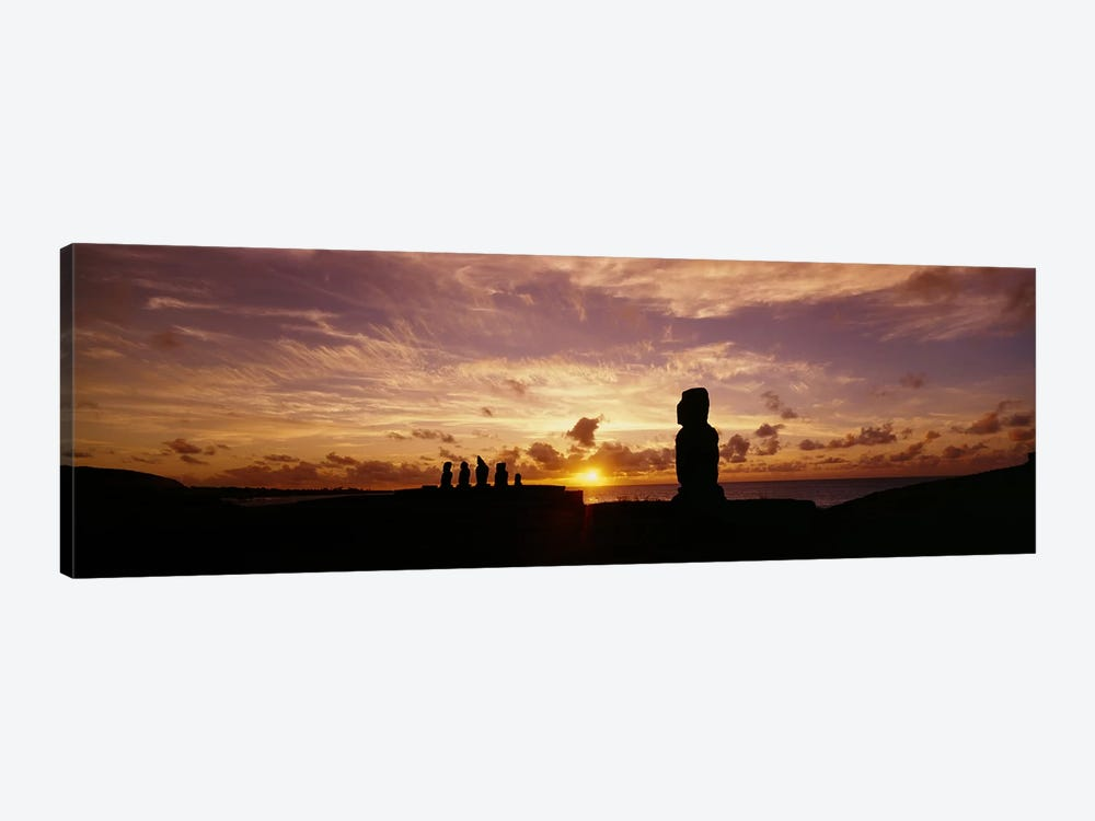 Silhouette of Moai statues at dusk, Tahai Archaeological Site, Rano Raraku, Easter Island, Chile by Panoramic Images 1-piece Canvas Art Print