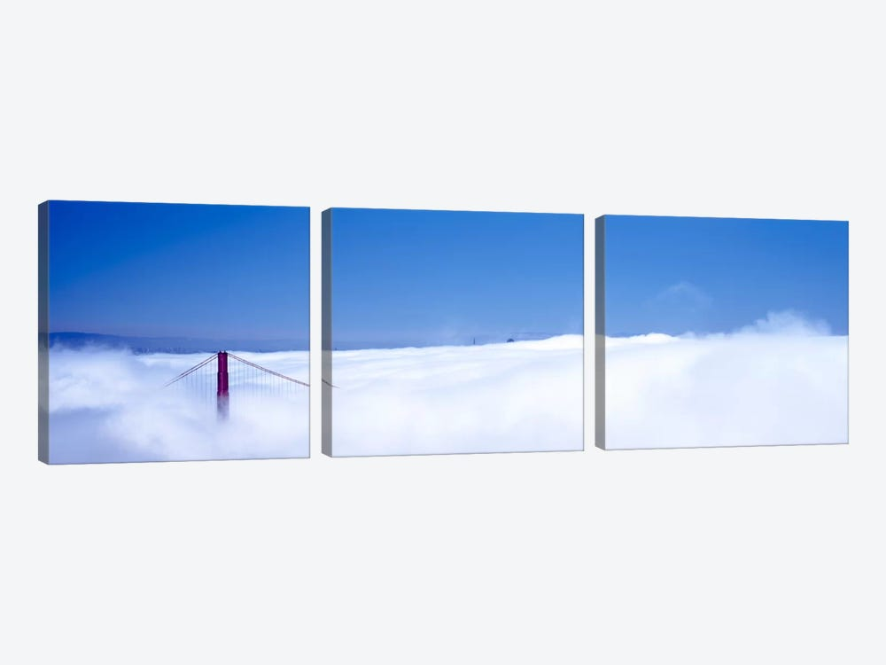 San Francisco Golden Gate Bridge California in smog by Panoramic Images 3-piece Canvas Art
