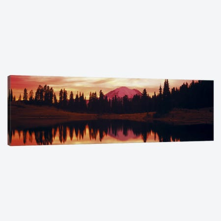 Reflection of trees in water, Tipsoo Lake, Mt Rainier, Mt Rainier National Park, Washington State, USA Canvas Print #PIM3830} by Panoramic Images Art Print
