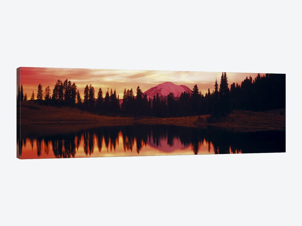Reflection of trees in water, Tipsoo Lake, Mt Rainier, Mt Rainier National Park, Washington State, USA 1-piece Canvas Wall Art