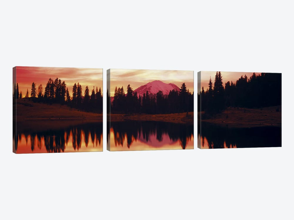 Reflection of trees in water, Tipsoo Lake, Mt Rainier, Mt Rainier National Park, Washington State, USA 3-piece Canvas Artwork