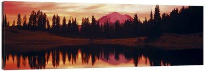 Reflection of trees in water, Tipsoo Lake, Mt Rainier, Mt Rainier National Park, Washington State, USA Canvas Art Print