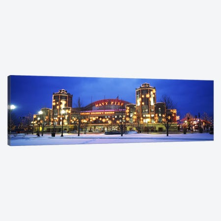 Facade Of A Building Lit Up At Dusk, Navy Pier, Chicago, Illinois, USA Canvas Print #PIM3842} by Panoramic Images Canvas Wall Art