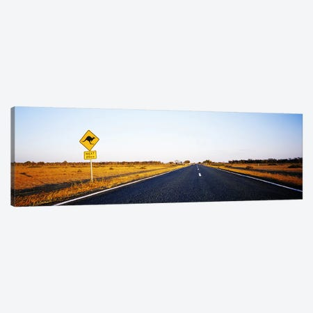 Kangaroo Crossing Sign Along A Highway, New South Wales, Australia Canvas Print #PIM3844} by Panoramic Images Canvas Art Print