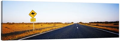 Kangaroo Crossing Sign Along A Highway, New South Wales, Australia Canvas Art Print