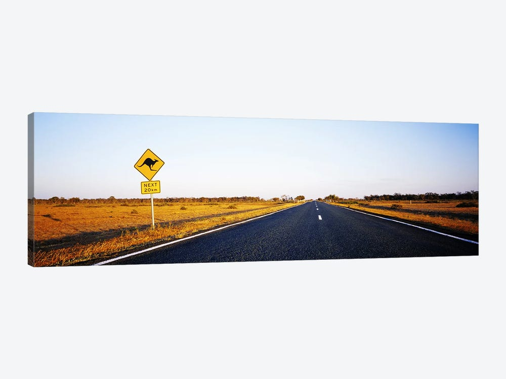 Kangaroo Crossing Sign Along A Highway, New South Wales, Australia 1-piece Canvas Print
