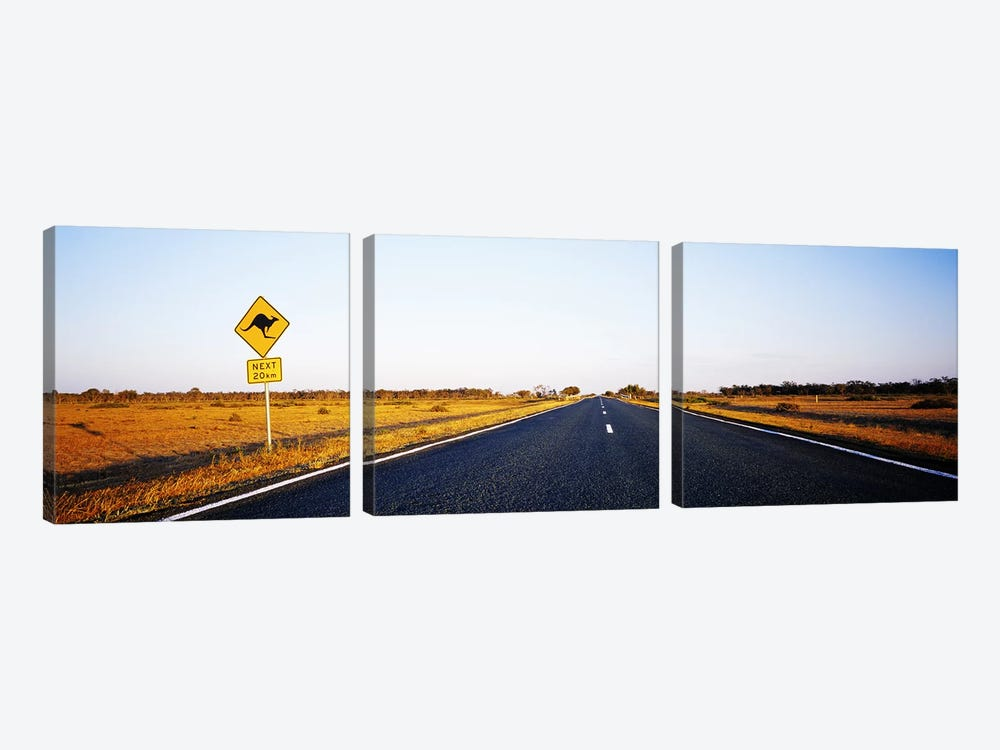 Kangaroo Crossing Sign Along A Highway, New South Wales, Australia 3-piece Art Print