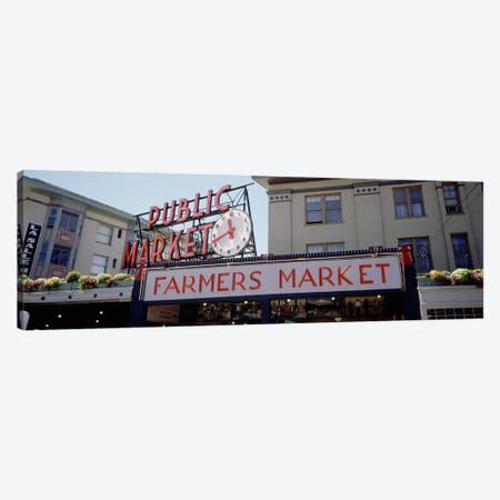 Low angle view of buildings in a market, Pike Place Market, Seattle, Washington State, USA Canvas Print #PIM3850} by Panoramic Images Art Print