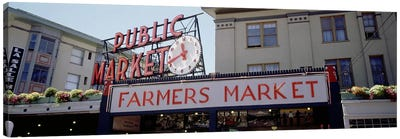 Low angle view of buildings in a market, Pike Place Market, Seattle, Washington State, USA Canvas Art Print