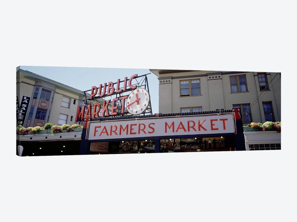 Low angle view of buildings in a market, Pike Place Market, Seattle, Washington State, USA by Panoramic Images 1-piece Canvas Artwork