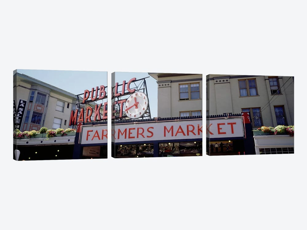 Low angle view of buildings in a market, Pike Place Market, Seattle, Washington State, USA by Panoramic Images 3-piece Canvas Wall Art