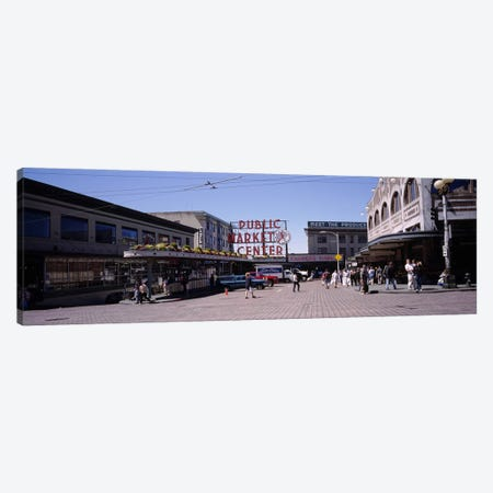 Group of people in a market, Pike Place Market, Seattle, Washington State, USA Canvas Print #PIM3851} by Panoramic Images Canvas Art Print