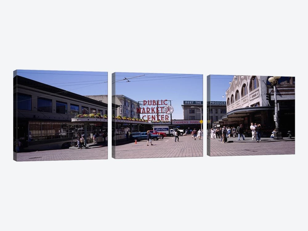 Group of people in a market, Pike Place Market, Seattle, Washington State, USA by Panoramic Images 3-piece Art Print