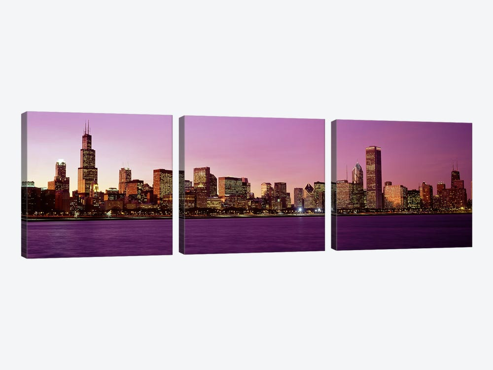 Skyline At SunsetChicago, Illinois, USA by Panoramic Images 3-piece Canvas Wall Art