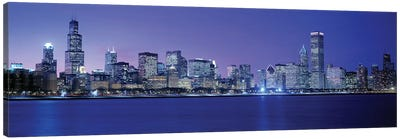 Downtown Skyline At Dusk, Chicago, Cook County, Illinois, USA Canvas Print #PIM3853