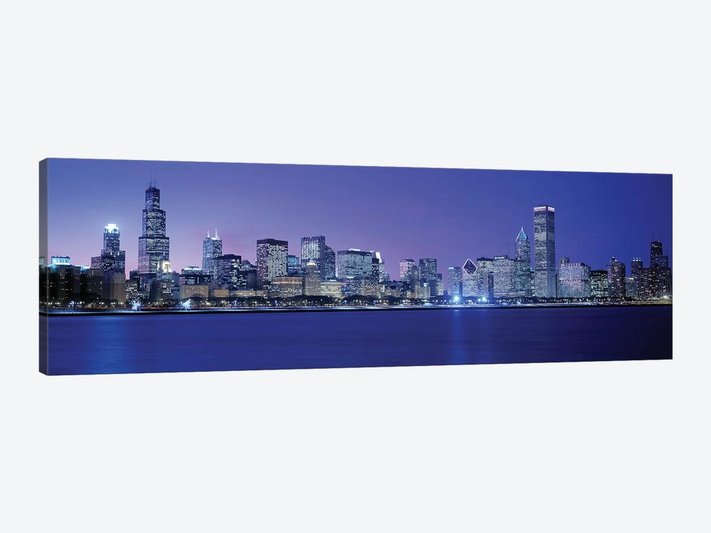 Downtown Skyline At Dusk, Chicago, Cook County, Illinois, USA by Panoramic Images 1-piece Art Print