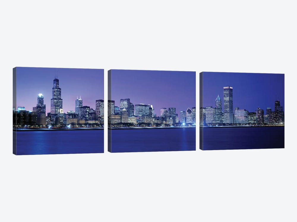 Downtown Skyline At Dusk, Chicago, Cook County, Illinois, USA by Panoramic Images 3-piece Art Print
