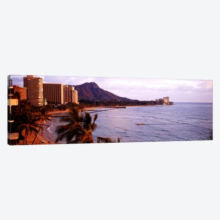 Waikiki Beach, Oahu, Hawaii, USA Canvas Print #PIM3856} by Panoramic Images Canvas Artwork
