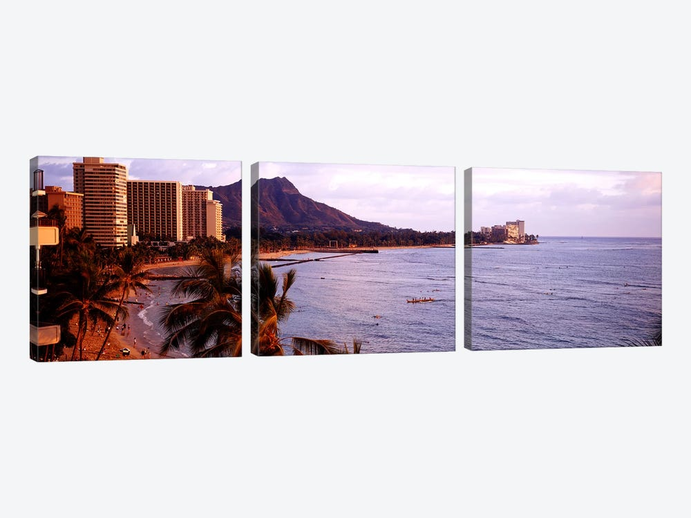 Waikiki Beach, Oahu, Hawaii, USA by Panoramic Images 3-piece Canvas Artwork