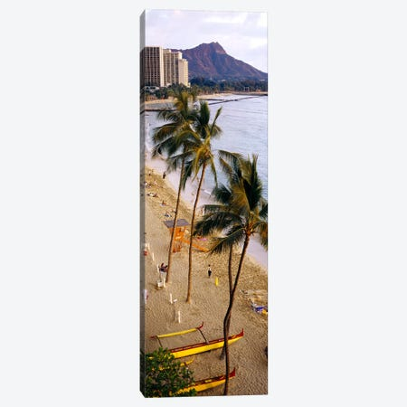 High angle view of tourists on the beach, Waikiki Beach, Honolulu, Oahu, Hawaii, USA Canvas Print #PIM3857} by Panoramic Images Canvas Wall Art