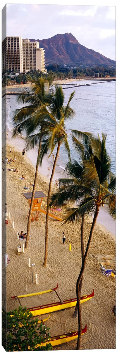 High angle view of tourists on the beach, Waikiki Beach, Honolulu, Oahu, Hawaii, USA Canvas Art Print