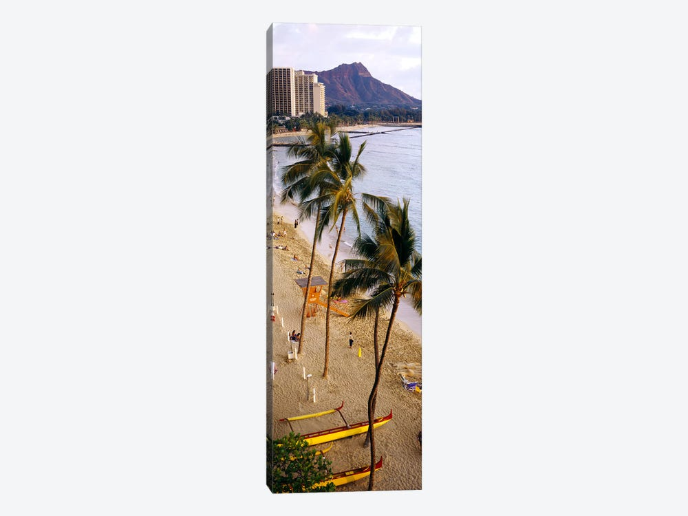 High angle view of tourists on the beach, Waikiki Beach, Honolulu, Oahu, Hawaii, USA by Panoramic Images 1-piece Art Print