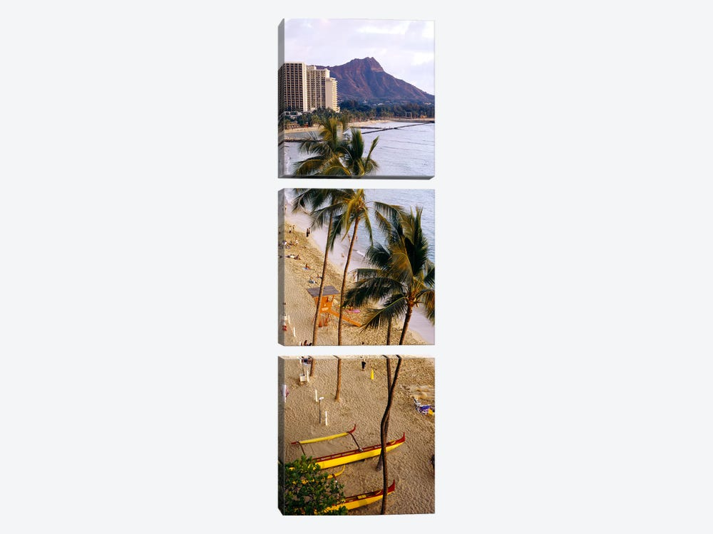 High angle view of tourists on the beach, Waikiki Beach, Honolulu, Oahu, Hawaii, USA by Panoramic Images 3-piece Canvas Art Print