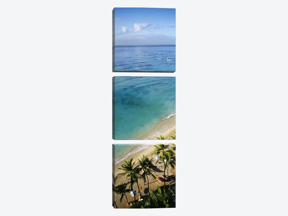 High angle view of palm trees with beach umbrellas on the beach, Waikiki Beach, Honolulu, Oahu, Hawaii, USA 3-piece Canvas Wall Art