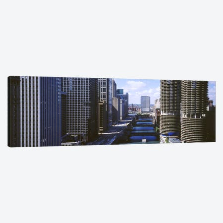 Architecture Along The Chicago River, Chicago, Illinois, USA Canvas Print #PIM3863} by Panoramic Images Canvas Wall Art
