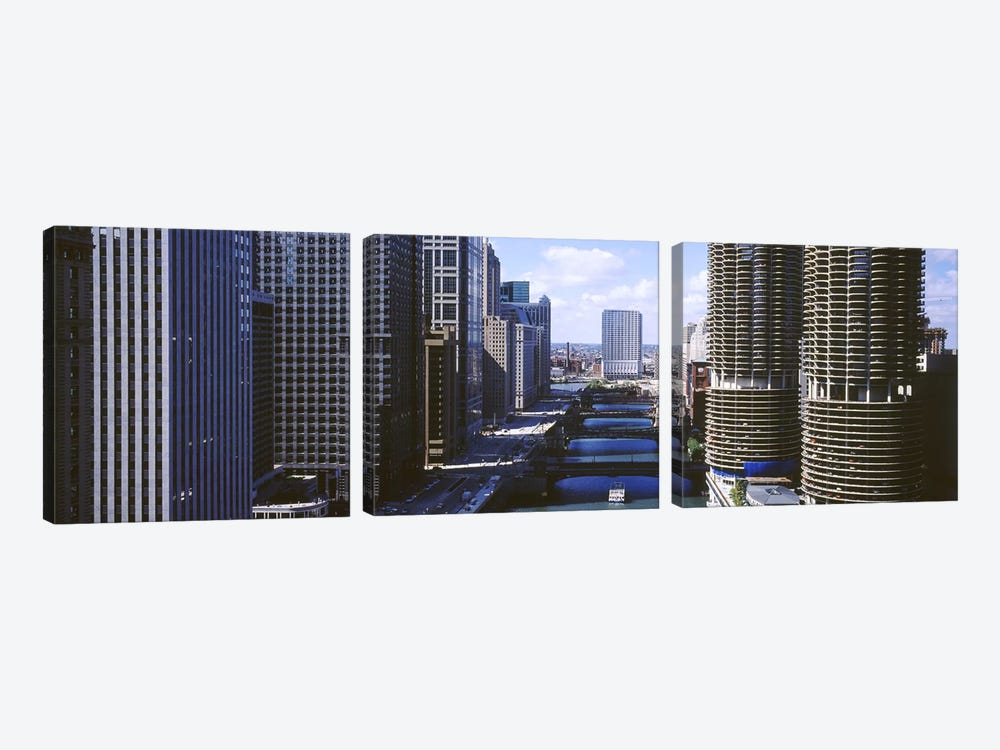 Architecture Along The Chicago River, Chicago, Illinois, USA by Panoramic Images 3-piece Canvas Wall Art