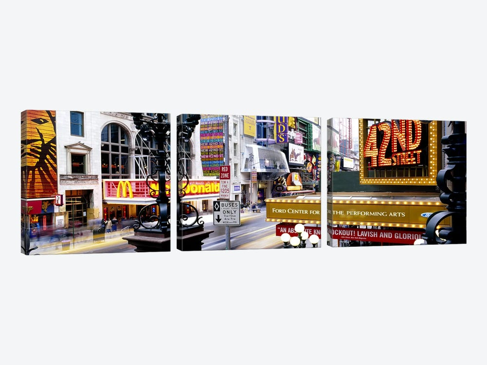 Road running through a market, 42nd Street, Manhattan, New York City, New York State, USA by Panoramic Images 3-piece Canvas Art