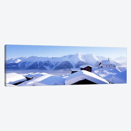 Snow Covered Chapel and Chalets Swiss Alps Switzerland Canvas Print #PIM3872} by Panoramic Images Canvas Art Print