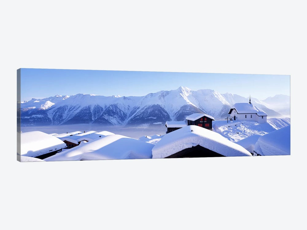 Snow Covered Chapel and Chalets Swiss Alps Switzerland by Panoramic Images 1-piece Canvas Wall Art