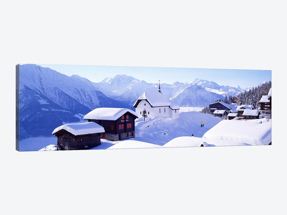 Snow Covered Chapel and Chalets Swiss Alps Switzerland by Panoramic Images 1-piece Art Print