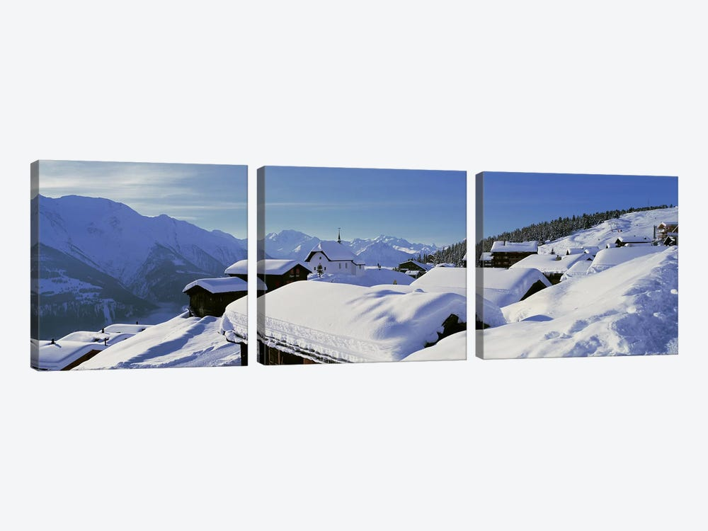 Snow Covered Chapel and Chalets Swiss Alps Switzerland by Panoramic Images 3-piece Canvas Art