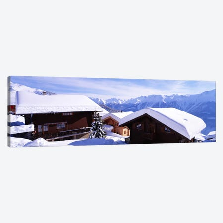Snow Covered Chapel and Chalets Swiss Alps Switzerland Canvas Print #PIM3875} by Panoramic Images Canvas Art