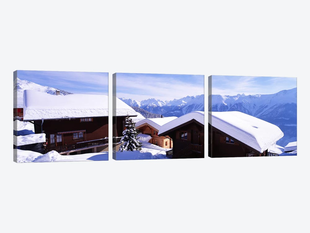 Snow Covered Chapel and Chalets Swiss Alps Switzerland by Panoramic Images 3-piece Art Print
