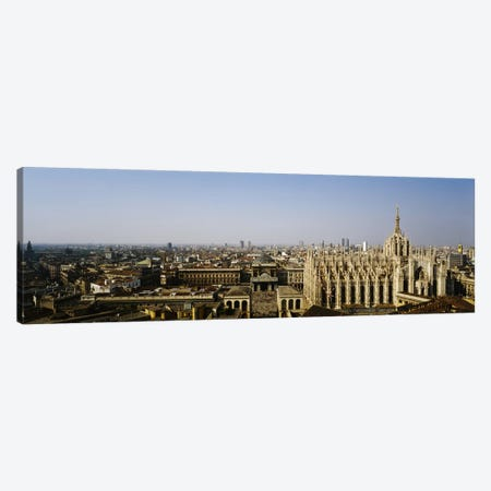 Aerial view of a cathedral in a city, Duomo di Milano, Lombardia, Italy Canvas Print #PIM3876} by Panoramic Images Canvas Art