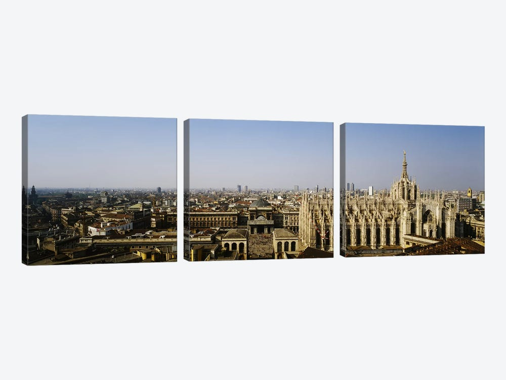 Aerial view of a cathedral in a city, Duomo di Milano, Lombardia, Italy 3-piece Canvas Art