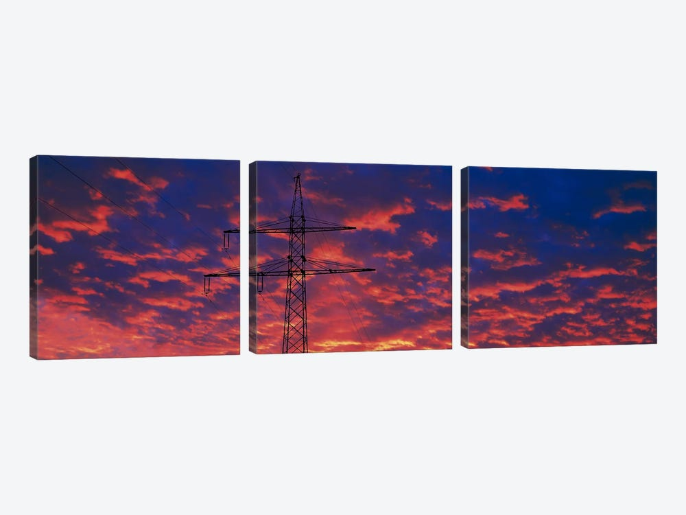 Power lines at sunset Germany by Panoramic Images 3-piece Canvas Print