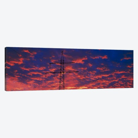 Power lines at sunset Germany Canvas Print #PIM387} by Panoramic Images Canvas Art